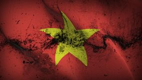 Vietnam grunge dirty flag waving on wind. Vietnamese background fullscreen grease flag blowing on wind. Realistic filth fabric texture on windy day Stock Photography