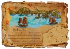 Vietnam - Ha Long Bay. Hand drawing. Royalty Free Stock Photo