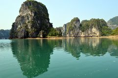 Vietnam - Ha Long Bay Limestone karsts view from rowing boat near the floating fishing village of Vông Viêng Stock Images