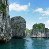 Vietnam - Halong Bay. National Park (UNESCO). The most popular place in Vietnam. Fisching floating village stock photos