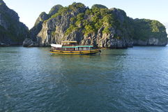 Vietnam Halong bay. Beautiful ship in Vietnam& x27;s Halong bay stock photography