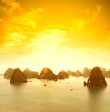 Vietnam Halong Bay beautiful sunset landscape royalty free stock images