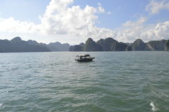Vietnam Halong bay. Ship in the beautiful Halong bay royalty free stock photo