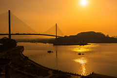 Vietnam Halong Bay waterfront sunset Royalty Free Stock Images