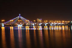 Vietnam. Han River shimmering light at night Stock Photos