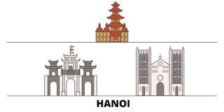 Vietnam, Hanoi flat landmarks vector illustration. Vietnam, Hanoi line city with famous travel sights, skyline, design. Vietnam, Hanoi flat landmarks vector royalty free illustration