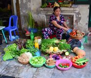 Vietnam - Hanoi - typical street scene from the Old Quarter - lady selling fruit and vegetables in Hoan Kiem District Royalty Free Stock Photography