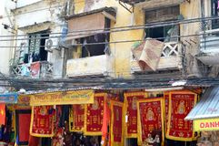 Vietnam - Hanoi - Shop fronts and run down houses above Stock Images