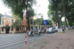 Town, road, street, mode, of, transport, car, vehicle, lane, public, space, neighbourhood, tree, pedestrian, city, downtown, plaza. Photo of neighbourhood royalty free stock image
