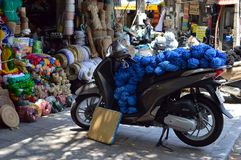 Vietnam - Hanoi - Typical Street Scene From The Old Quarter - Woollen Shop Stock Photos