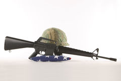 Vietnam Helmet and M16 Royalty Free Stock Photos
