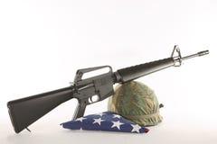 Vietnam Helmet and M16 stock photography