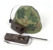 Vietnam steel helmet radio Stock Photography