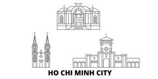 Vietnam Ho Chi Minh City linje lopphorisontuppsättning Vietnam illustration för vektor för Ho Chi Minh City översiktsstad, symbol royaltyfri illustrationer