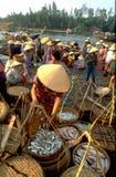 Vietnam: Hois Ans fiskmarknaden är full av femal köpare royaltyfri bild