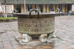 Vietnam, Hue. Ancient bronze container royalty free stock image