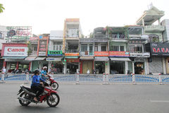 Vietnam Hue street view. Street view in Hue, Vietnam. Hue is city of Vietnam. The city is located in central Vietnam on the banks of the Perfume River, just a stock images