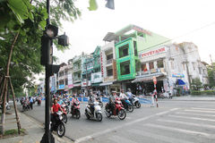 Vietnam Hue street view. Street view in Hue, Vietnam. Hue is city of Vietnam. The city is located in central Vietnam on the banks of the Perfume River, just a royalty free stock images