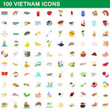 100 vietnam icons set, cartoon style Stock Images