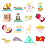 Vietnam icons set, cartoon style Royalty Free Stock Photography