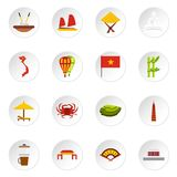 Vietnam icons set, flat style. Vietnam icons set. Flat illustration of 16 Vietnam icons for web Stock Illustration