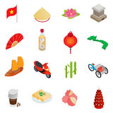 Vietnam icons set, isometric 3d style Royalty Free Stock Photo