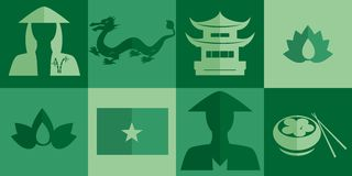 The Vietnam icons. Set of icons in the style of a flat design on the theme of Vietnam Royalty Free Stock Photo