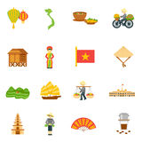 Vietnam Icons Set. Vietnam travel icons set with palace food and map flat  vector illustration Stock Images