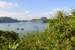 Vietnam island. Beautiful view from the top of monkey island in Vietnam& x27;s Halong bay stock photo