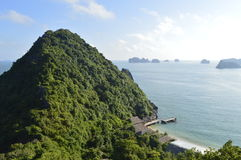 Vietnam island. Beautiful view from the top of Vietnam& x27;s monkey island in the Halong bay royalty free stock photo