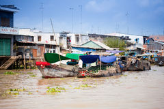 VIETNAM - JAN 28:  boats at  floating market on Jan 28, 2014.fam Royalty Free Stock Photography