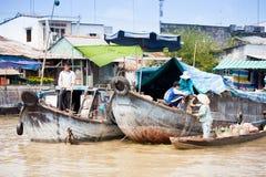VIETNAM - JAN 28:  boats at  floating market on Jan 28, 2014.fam Stock Photos