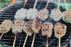 Vietnam klibbar matBBQ-kött och risbakgrund royaltyfri foto