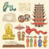 Vietnam kort med vietnamesiska traditionella objekt vektor illustrationer