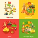 Vietnam lägenhetuppsättning stock illustrationer