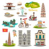 Vietnam landmark vector icons set. Illustrated travel collection about Vietnam vector illustration