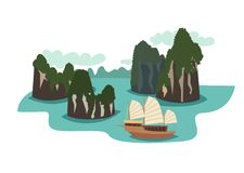 Vietnam landmark vector illustration. Ha long bay cartoon style vector illustration