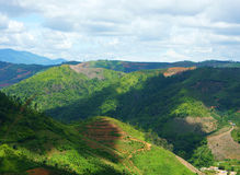 Vietnam landscape, chain of mountain, cloudy sky Royalty Free Stock Photos