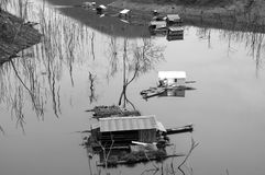 Vietnam landscape, floating house, tree reflect Royalty Free Stock Photo