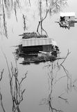 Vietnam landscape, floating house, tree reflect Stock Photography