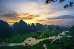 Vietnam landscape with rice field, river, mountain and low clouds in early morning in Trung Khanh, Cao Bang, Vietnam stock photography
