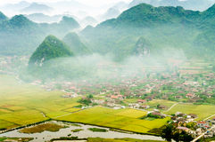 Vietnam landscape: Rice fields with a river  in the valley of TAY ethnic minority people-Bac Son-Lang Son-Viet Nam Royalty Free Stock Images