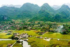 Vietnam landscape: Rice fields with a river  in the valley of TAY ethnic minority people-Bac Son-Lang Son-Viet Nam. At Bac Son, Lang Son, Viet Nam Stock Photo