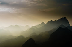Vietnam landscape: Sun shines on the mountain at ha giang, viet nam Royalty Free Stock Photos