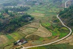 Vietnam landskap: Fältet på den Dong Van sten-platån, Viet Nam Arkivbild