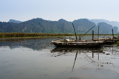 Vietnam landskap: Turen på våtmarken, Van Long, Ninh Binh, Vietnam Royaltyfri Fotografi