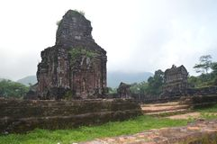 Vietnam - My Son - Duo if Cham Temples in the early morning mist Stock Photo