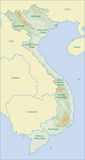 Vietnam map. Map of Vietnam area name and relief of moutain Stock Photos