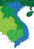 Vietnam map. Detailed vector map of Vietnam with country borders, county names, main roads and a highly detailed state silhouette Royalty Free Stock Photo
