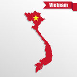 Vietnam map with flag inside and ribbon Stock Photo